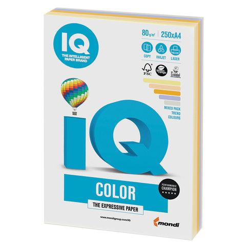 Бумага IQ color, А4, 80 г/м<sup>2</sup>, 250 л. (5 цв. х 50 л.), цветная, умеренно-интенсив (тренд) RB03