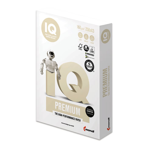 Бумага IQ PREMIUM БОЛЬШОЙ ФОРМАТ (297х420 мм), А3, 160 г/м2, 250 л., класс