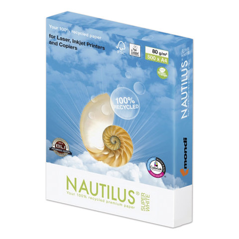 Бумага NAUTILUS SUPER WHITE, RECYCLED, А4, 80 г/м<sup>2</sup>, 500 л., класс &quot;А&quot;, Австрия, 150% (CIE)