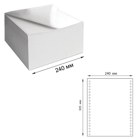 """Бумага самокопирующая с перфорацией белая, 240х305 мм (12""""), 2-х слойная, 900 комплектов, DRESCHER, 110756"""