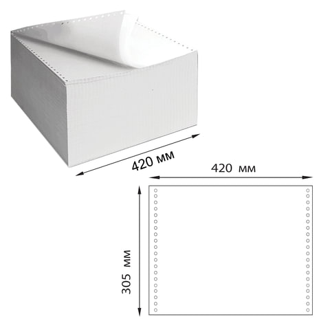 """Бумага самокопирующая с перфорацией белая, 420х305 мм (12""""), 2-х слойная, 900 комплектов, DRESCHER, 110758"""