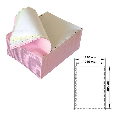 """Бумага самокопирующая с перфорацией цветная, 240х305 мм (12""""), 4-х слойная, 450 комплектов, DRESCHER, 110759"""