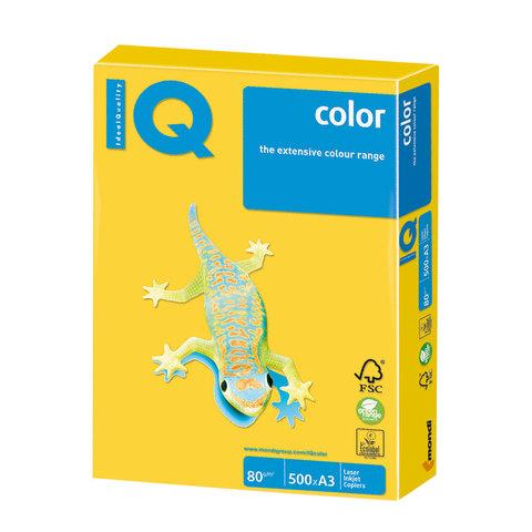 Бумага IQ (АйКью) color, А3, 80 г/м<sup>2</sup>, 500 л., интенсив ярко-желтая, IG50