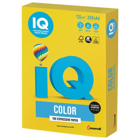Бумага IQ color, А4, 120 г/м<sup>2</sup>, 250 л., интенсив ярко-желтая IG50