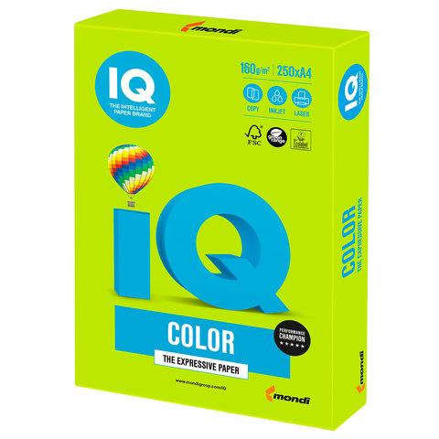 Бумага IQ color, А4, 160 г/м<sup>2</sup>, 250 л., интенсив зеленая липа LG46