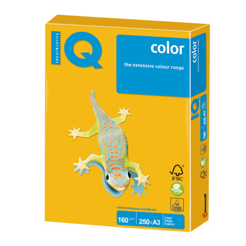 Бумага IQ (АйКью) color, А3, 160 г/м<sup>2</sup>, 250 л., интенсив солнечно-желтая, SY40