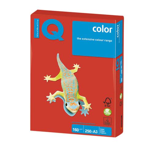 Бумага IQ color, А3, 160 г/м<sup>2</sup>, 250 л., интенсив кораллово-красная CO44