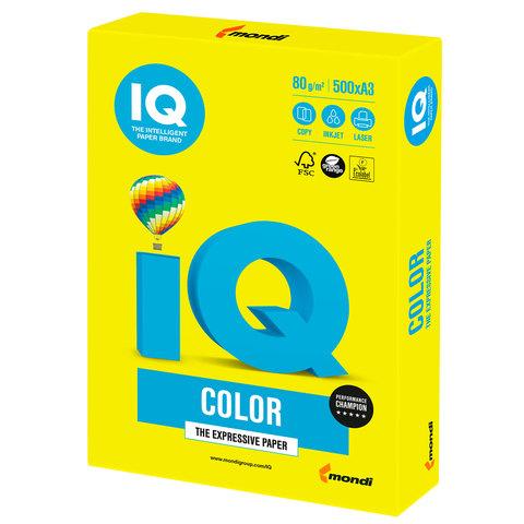 Бумага IQ color, А3, 80 г/м<sup>2</sup>, 500 л., неон желтая NEOGB