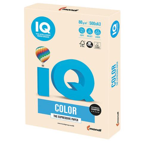 Бумага IQ color, А3, 80 г/м<sup>2</sup>, 500 л., пастель кремовая CR20