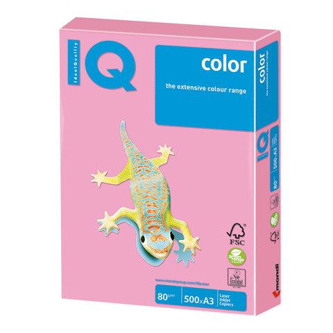 Бумага IQ (АйКью) color, А3, 80 г/м<sup>2</sup>, 500 л., пастель розовый фламинго, OPI74