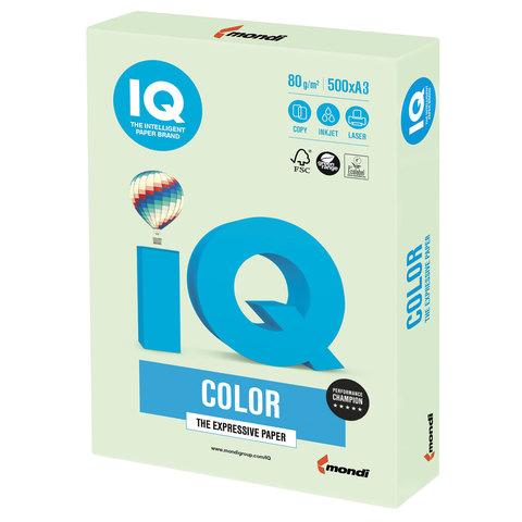 Бумага IQ color, А3, 80 г/м<sup>2</sup>, 500 л., пастель светло-зеленая GN27
