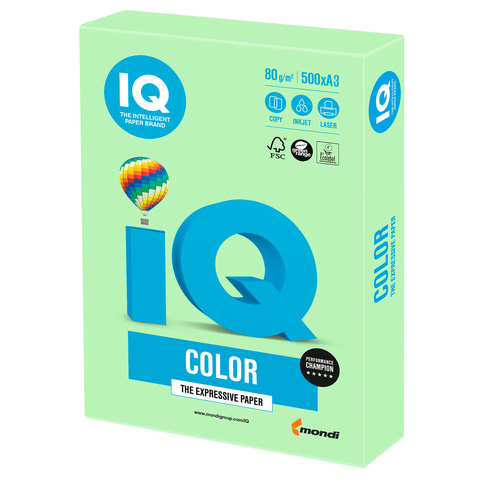 Бумага IQ color, А3, 80 г/м<sup>2</sup>, 500 л., пастель зеленая MG28