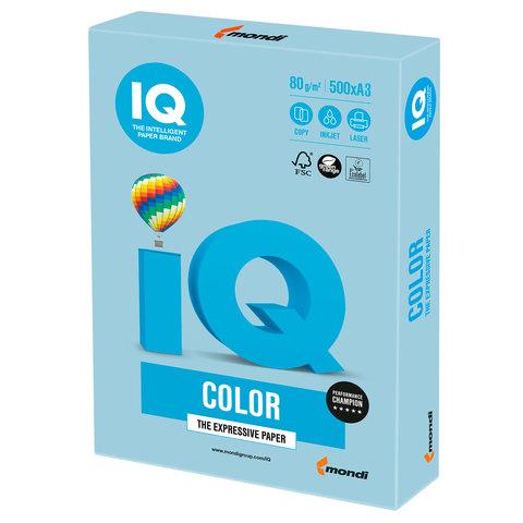 Бумага IQ color, А3, 80 г/м<sup>2</sup>, 500 л., пастель голубой лед OBL70