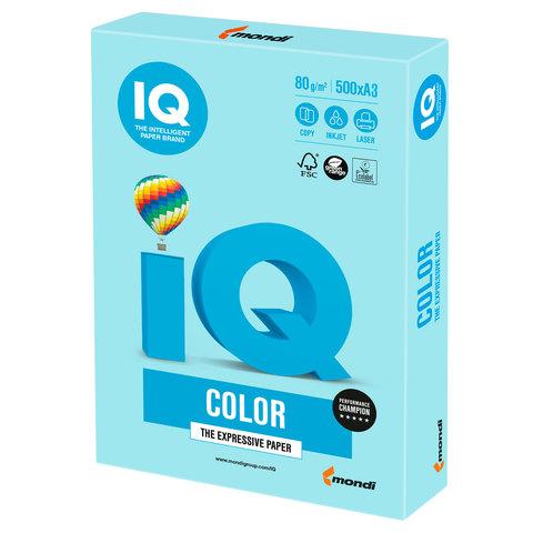 Бумага IQ color, А3, 80 г/м<sup>2</sup>, 500 л., пастель голубая MB30