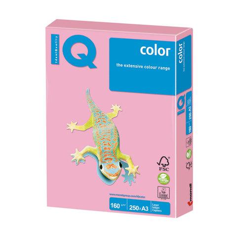 Бумага IQ color, А3, 160 г/м<sup>2</sup>, 250 л., пастель розовая PI25
