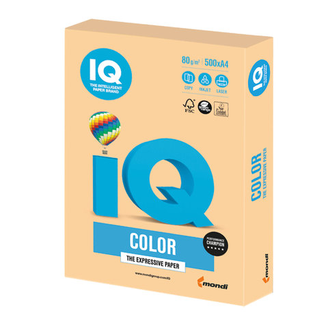 Бумага IQ color, А4, 80 г/м<sup>2</sup>, 500 л., умеренно-интенсив (тренд) золотистая GO22