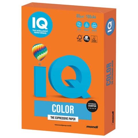 Бумага цветная IQ color, А4, 80 г/м2, 100 л., интенсив, оранжевая, OR43