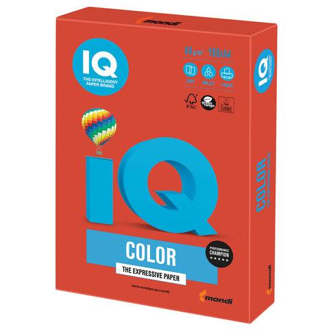 Бумага цветная IQ color, А4, 80 г/м2, 100 л., интенсив, кораллово-красная, CO44