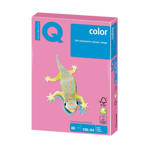 Бумага цветная IQ color, А4, 80 г/м2, 100 л., неон, розовая, NEOPI