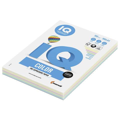 Бумага IQ color, А4, 160 г/м<sup>2</sup>, 100 л. (5 цв. x 20 л.), цветная пастель RB01