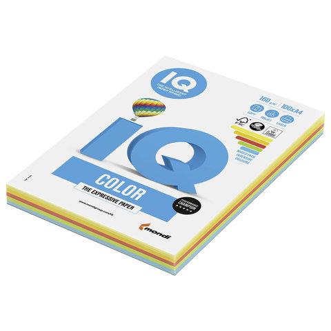 Бумага IQ color, А4, 160 г/м<sup>2</sup>, 100 л. (5 цв. x 20 л.), цветная интенсив RB02