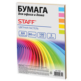 Бумага цветная STAFF color, А4, 80 г/м<sup>2</sup>, 100 л., микс (5 цв. х 20 л.), пастель, для офиса и дома, 110889