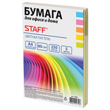 Бумага цветная STAFF COLOR, А4, 80 г/м<sup>2</sup>, 250 л. (5 цв. х 50 л.), пастель, для офиса и дома, 110890