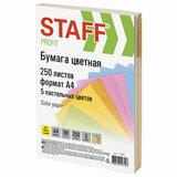 """Бумага цветная STAFF """"Profit"""", А4, 80 г/м<sup>2</sup>, 250 л. (5 цв. х 50 л.), пастель, для офиса и дома, 110890"""