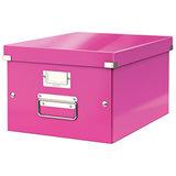 """Короб архивный LEITZ """"Click & Store"""" M, 200х280х370 мм, ламинированный картон, разборный, розовый, 60440023"""