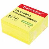 Блок самоклеящийся (стикеры) BRAUBERG НЕОНОВЫЙ 76х76 мм, 400 листов, желтый, 111352