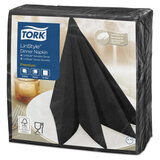 """Салфетки бумажные нетканые сервировочные TORK """"LinStyle Premium"""", 39х39 см, 50 шт., чёрные, 478726"""