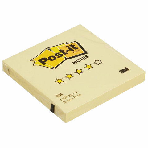 Блок самоклеящийся (стикер) POST-IT ORIGINAL 76х76 мм, 100 л., желтый, 654