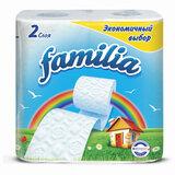 Бумага туалетная бытовая, спайка 4 шт., 2-слойная (4х16,2 м), FAMILIA, белая, 5040086
