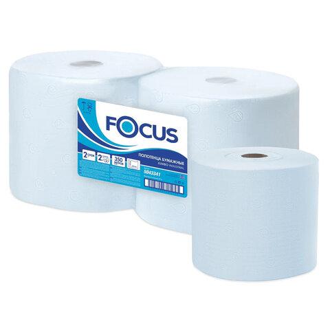 Бумага протирочная FOCUS (Система W1) Jumbo, 2-слойная, КОМПЛЕКТ 2 рулона, 350 м, 1000 листов, лист 33х35, 5043341