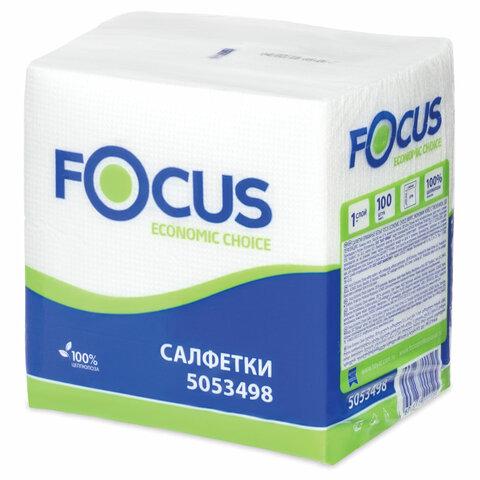 Салфетки бумажные 100 шт., 24x24 см, FOCUS Economic, белые, 100% целлюлоза, 5053498