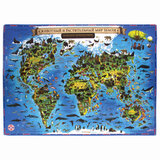 """Карта мира """"Животный и растительный мир"""" 101х69 см, интерактивная, европодвес, ЮНЛАНДИЯ, 112372"""
