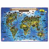 """Карта мира """"Животный и растительный мир"""" 101х69 см, интерактивная, в тубусе, ЮНЛАНДИЯ, 112373"""