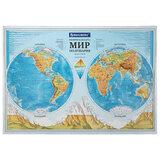 """Карта мира физическая """"Полушария"""" 101х69 см, 1:37М, интерактивная, в тубусе, BRAUBERG, 112376"""