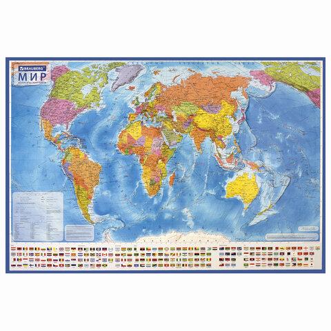 Карта мира политическая 101х70 см, 1:32М, с ламинацией, интерактивная, в тубусе, BRAUBERG, 112382