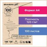 Крафт-бумага для графики, эскизов А4(210х297мм), 120г/м<sup>2</sup>, 100л, BRAUBERG ART CLASSIC,112486