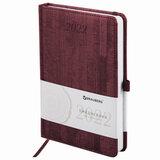 """Ежедневник датированный 2022 А5 138x213 мм BRAUBERG """"Wood"""", под кожу, держатель для ручки, бордовый, 112796"""