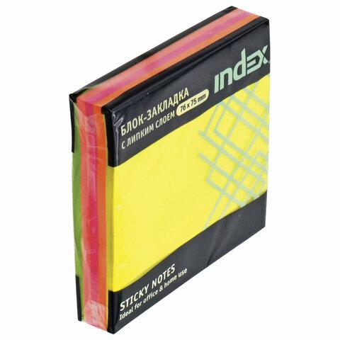Блок самоклеящийся (стикеры) INDEX НЕОНОВЫЙ 76х76 мм, 150 листов, 5 цветов, I444810