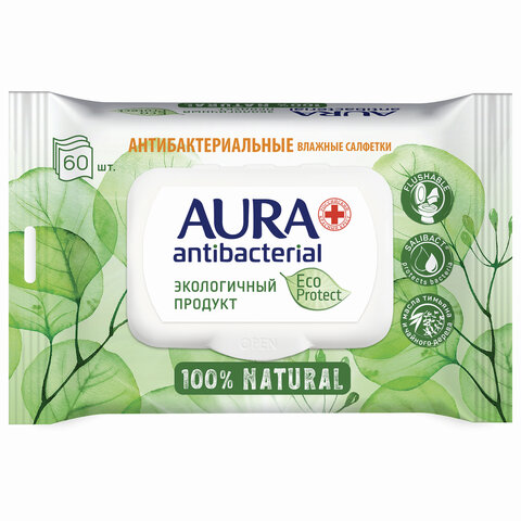 Салфетки влажные антибактериальные 60 шт., AURA Antibacterial