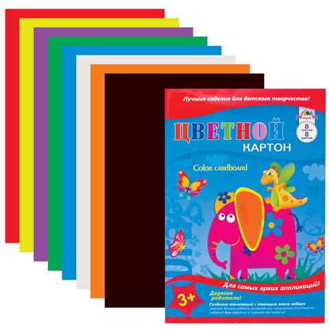 Цветной картон, А4, 8 листов, 8 цветов, лакированная обложка, АППЛИКА, 205х290 мм, С0003