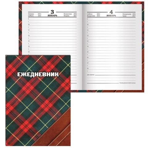 """Ежедневник BRAUBERG (БРАУБЕРГ) полудатированный на 4 года, А6+, 125х170 мм, """"Шотландка"""", 208 л., ламинированная обложка, 121585"""