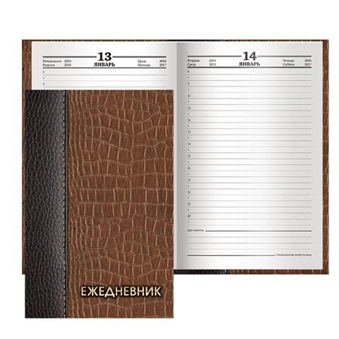 """Ежедневник BRAUBERG (БРАУБЕРГ) полудатированный на 4 года, А5, 133х205 мм, """"Кожа коричневая"""", 192 л., обложка шелк, 121590"""