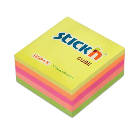 Блок самоклеящийся (стикер) HOPAX, 76х76 мм, 400 л., 5 цветов, неон, 21012