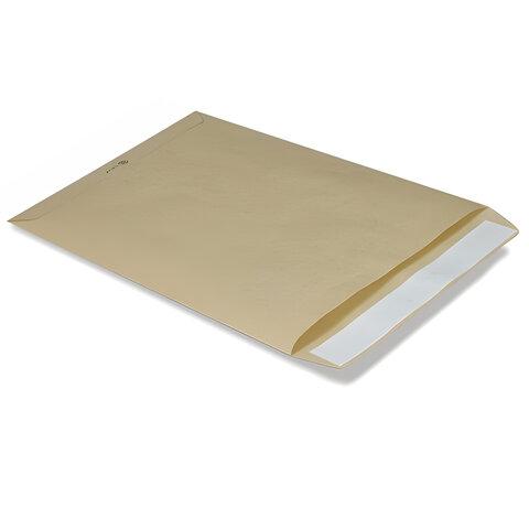 Конверт-пакет В4 плоский, 250х353 мм, из крафт-бумаги, с отрывной полосой, на 140 листов, 380090