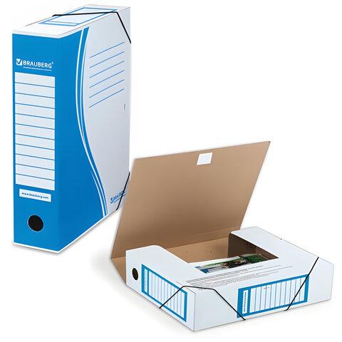 Папка архивная с резинкой, микрогофрокартон, 75 мм, до 700 листов, синяя, BRAUBERG, 3231