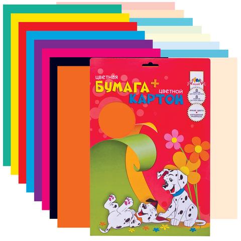 Цветная бумага и цветной картон, А4, мелованные, 8+8 листов, 8+8 цветов, АППЛИКА, 205х285 мм, С0156